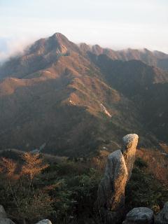 夕焼けの鎌ヶ岳