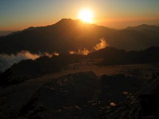 石鎚山の落日