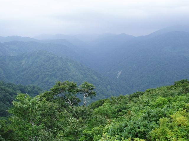 天狗岳から白神山地コアを望む
