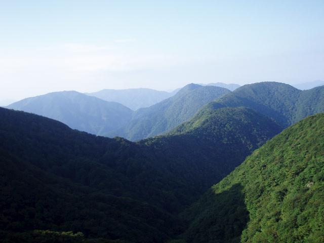 トラバース道から北尾根・虎子山を望む