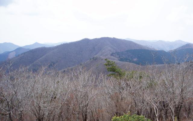赤谷峰から伯母子岳を望む